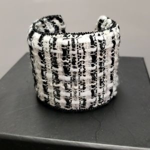 Jewelry - Metal/tweed fabric wide cuff bracelet